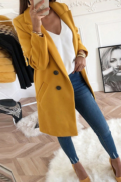 Fold Over Collar  Double Breasted  Plain Outerwear
