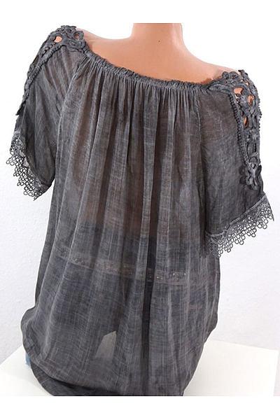 Spring Summer  Polyester  Women  Open Shoulder  Decorative Lace  Plain  Short Sleeve Blouses