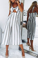 Spaghetti Strap  Backless  Striped  Sleeveless Jumpsuits
