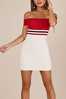 Off Shoulder  Backless  Striped  Extra Short Sleeve Bodycon Dresses