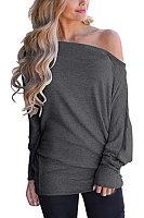 One Shoulder  Plain T-Shirts