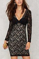 Black V-neck Hollow Out Lace Details Mini Dress