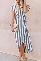 Summer V Collar Striped Loose Asymmetrical Vacation Dress