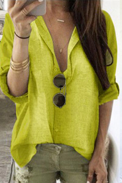 Casual V-Neck Single-Breasted Solid Color Long-Sleeved Shirt