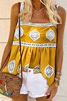 Boho Casual Printed Sling Camis