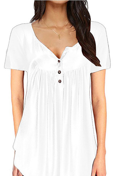Casual Round Neck Button Pleated Solid Color Short-Sleeved T-Shirt