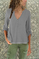 V Neck Button Roll Up Sleeves Chiffon Blouses