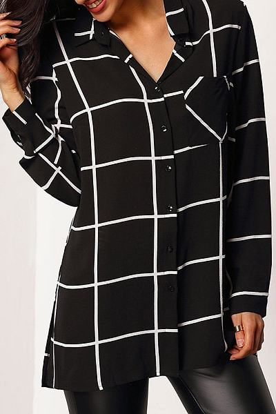 Turn Down Collar Loose Fitting Plaid Long Sleeve Blouse