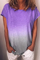 Round Neck  Gradient T-Shirts