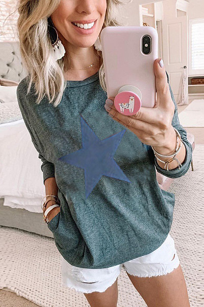 Casual Round Neck Multicolor Long Sleeve Star Print T-Shirt