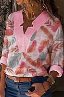 Fashion V Collar Printed Stitching Shirt