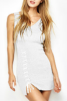 Sweet Heart Lace Up Plain Sleeveless Bodycon Dress