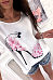 Round Neck Heels Printed  Batwing Sleeve T-Shirts