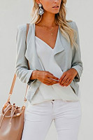 Small  Lapel  Zipper  Plain  Jackets