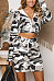 Hooded  Camouflage Two-Piece Outfits