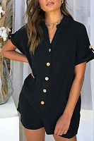 V Neck  Patch Pocket Single Breasted  Plain  Playsuits