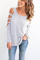 Round Neck  Hollow Out Plain T-Shirts