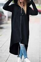 Hooded  Asymmetric Hem Zipper  Plain Trench Coat