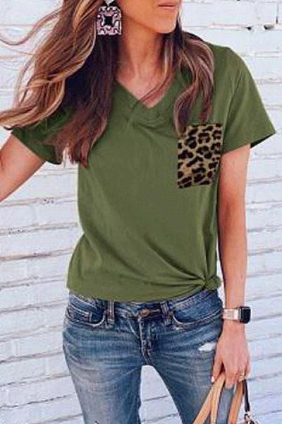 Casual V-Neck Solid Color Stitching Leopard Pocket Short-Sleeved T-Shirt