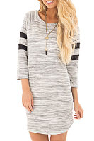 Asymmetric Hem  Assorted Colors Striped Casual Dresses