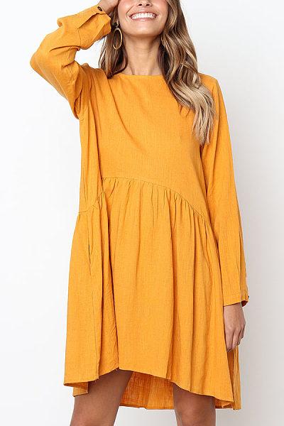 Round Neck  Asymmetric Hem Single Breasted  Plain  Long Sleeve Casual Dresses