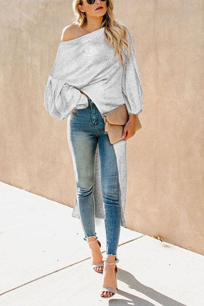 Fashion Shoulder Pure Color Bubble Sleeve Irregular Blouses