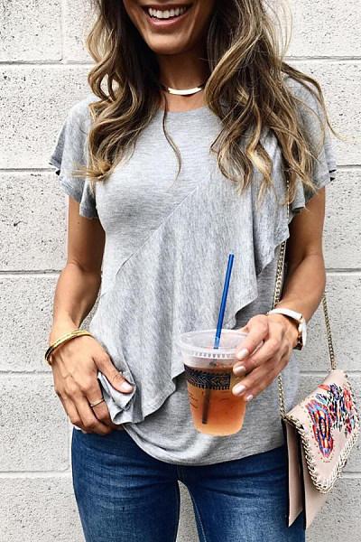 Round  Neck  Regular  Plain  Short Sleeve T-Shirts