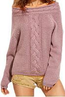 Open Shoulder Loose Fitting Plain Knitwear