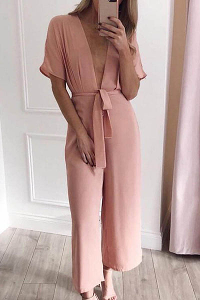 Deep V Neck  Plain  Short Sleeve  Basic Sexy Jumpsuits