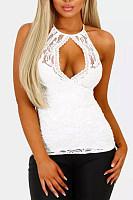 Sexy Lace Neck Slim Vest