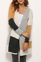 Polyester  Casual  Autumn Patchwork Cardigans