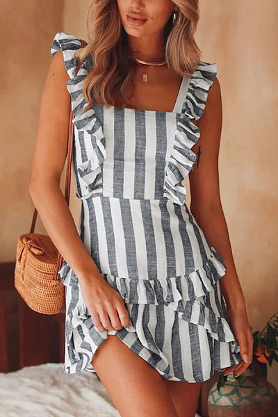 Spaghetti Strap  Cross Straps  Striped  Sleeveless Bodycon Dresses