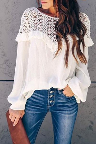Casual Hollow Out Long Sleeve Flounce Shirt