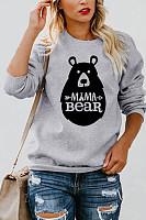 Round Neck  Animal Prints Letters  Sweatshirts