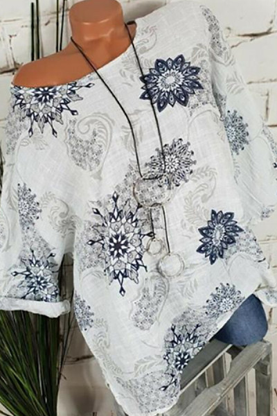 Casual Round Neck Halflong Sleeve Printed Colour Blouse
