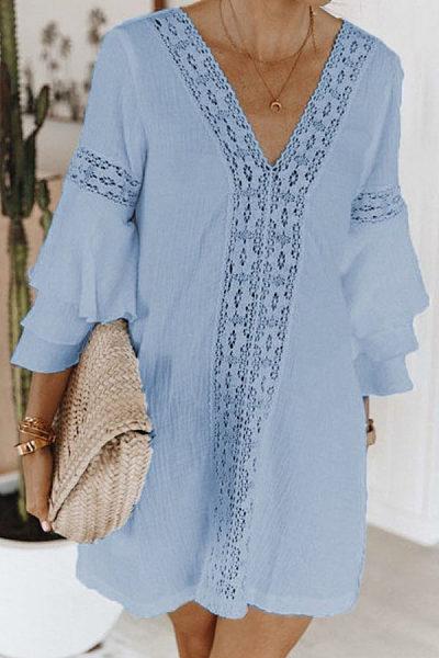 V Neck  Plain  Bell Sleeve  Long Sleeve Casual Dresses