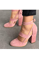 Plain  Chunky  High Heeled  Velvet  Ankle Strap  Round Toe  Date Event Pumps