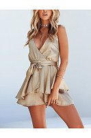 Casual Sexy Deep V   Neck Backless Sling Falbala Shorts Jumpsuit