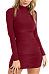 High Neck  Ruched  Plain Bodycon Dresses