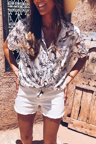 Fashion V-Neck Print Short Sleeve Blouses