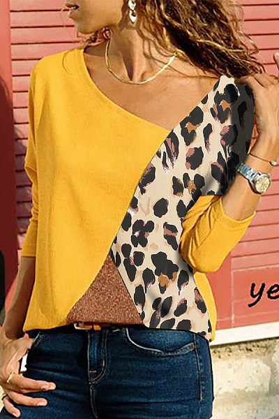Asymmetric Neck  Patchwork  Contrast Stitching  Color Block Long Sleeve T-Shirts
