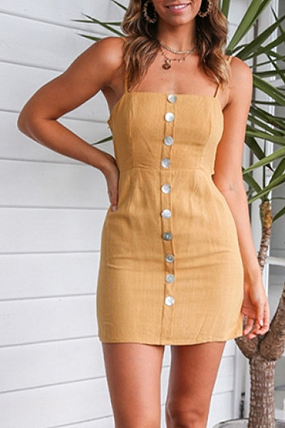 Spaghetti Strap  Backless Single Breasted  Plain  Sleeveless Bodycon Dresses