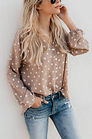 V Neck  Dot  Lantern Sleeve  Blouses