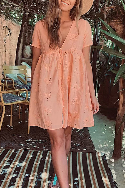 V Neck Hollow Out Single Breasted Casual Dresses