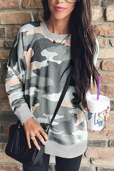 Round   Neck  Camouflage   Sweatshirts