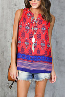 V Neck  Print  Casual Camis