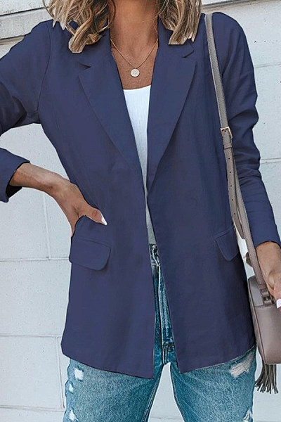 Casual Solid Color Lapel Pocket Long Sleeve Blazer