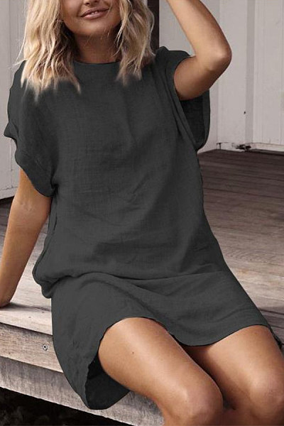Round Neck Short Sleeve Plain Casual Dresses