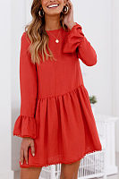 Round Neck  Cross Straps  Plain  Bell Sleeve  Long Sleeve Casual Dresses