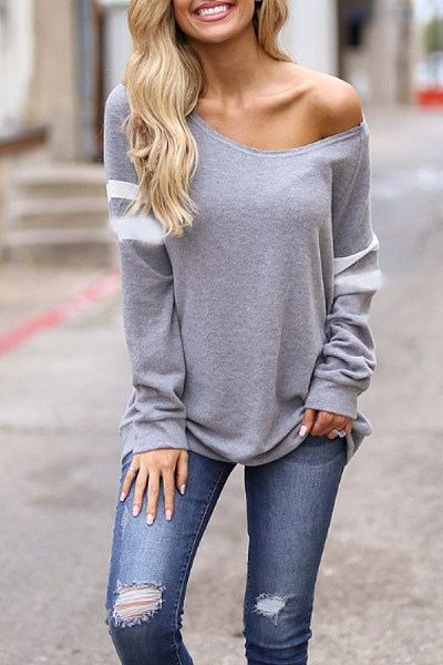 One Shoulder  Plain Casual  Sweatshirts